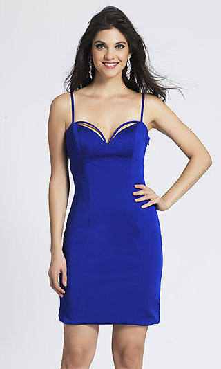 Short Sapphire Blue Sweetheart Homecoming Dress