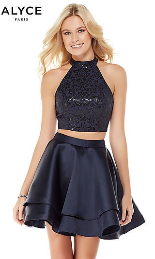 Short Blue Two-Piece Homecoming Dress by Alyce