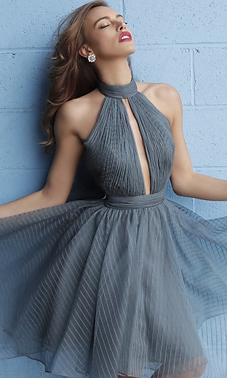 Short Mock-Neck Halter Homecoming Dress with a Bow