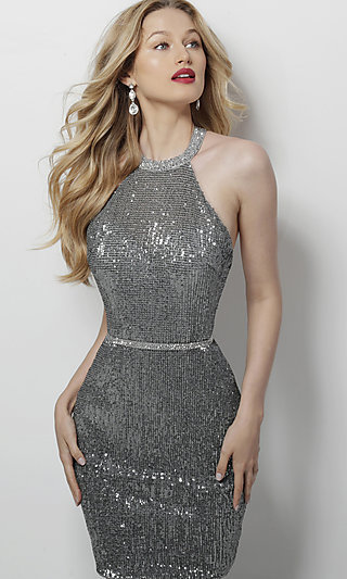 Silver Sequin Homecoming Dress with an Open Back