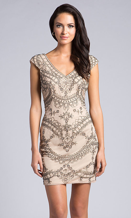 f44596503e4 Open V-Back Champagne Beaded Homecoming Dress