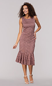 Image of knee-length glitter-lace wedding-guest dress. Style: JU-MA-261815 Detail Image 3