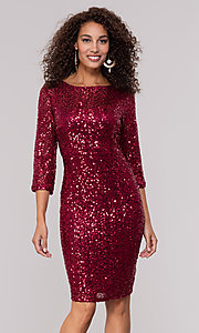 Image of ruby red sequin holiday party dress with sleeves. Style: JU-MA-261890 Front Image