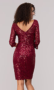 Image of ruby red sequin holiday party dress with sleeves. Style: JU-MA-261890 Back Image