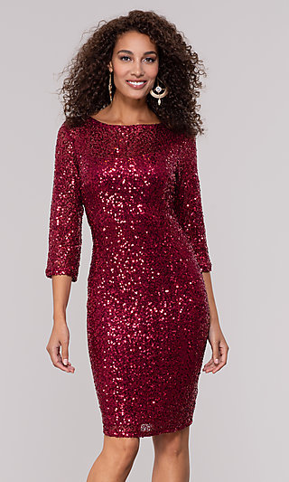 Ruby Red Sequin Holiday Party Dress