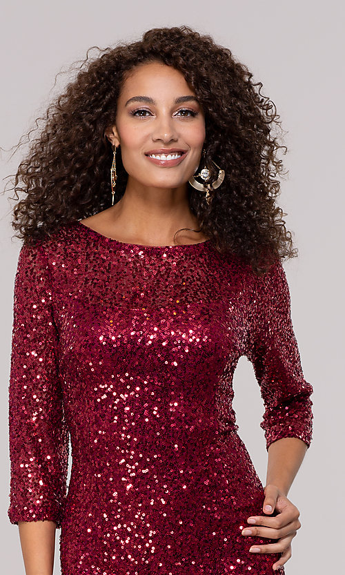 Image of ruby red sequin holiday party dress with sleeves. Style: JU-MA-261890 Detail Image 1