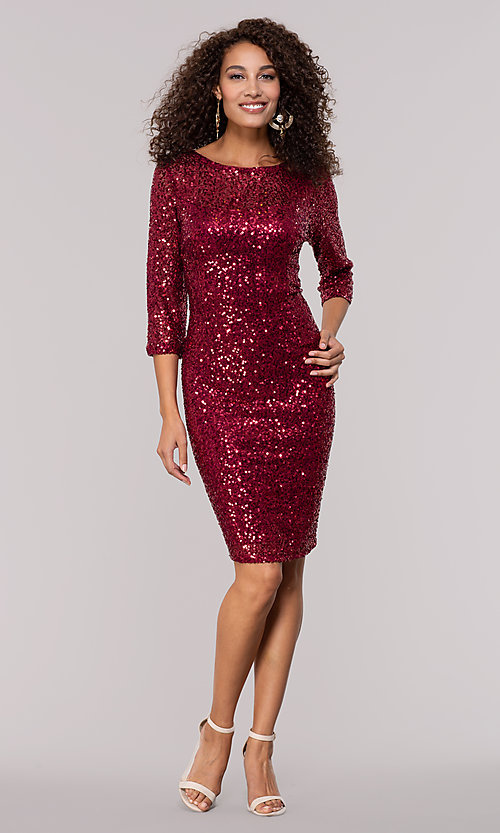 Image of ruby red sequin holiday party dress with sleeves. Style: JU-MA-261890 Detail Image 3
