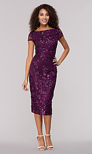 Image of eggplant purple knee-length wedding-guest dress. Style: JU-MA-261915 Front Image