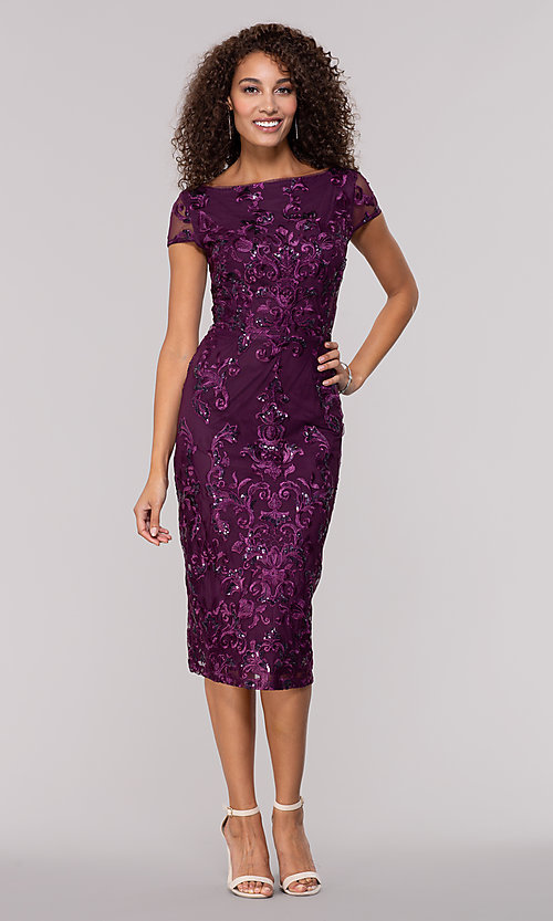 2db074deff7 Image of eggplant purple knee-length wedding-guest dress. Style  JU-