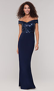Image of long off-the-shoulder navy mother-of-the-bride dress. Style: JU-MA-262100 Front Image