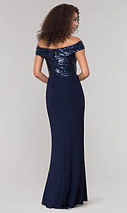 Image of long off-the-shoulder navy mother-of-the-bride dress. Style: JU-MA-262100 Back Image