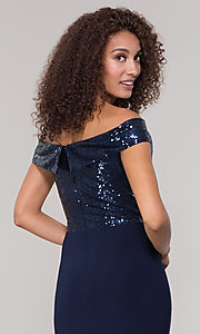 Image of long off-the-shoulder navy mother-of-the-bride dress. Style: JU-MA-262100 Detail Image 2