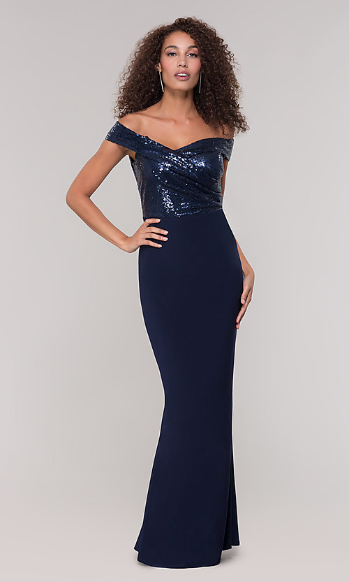 Image of long off-the-shoulder navy mother-of-the-bride dress. Style: JU-MA-262100 Detail Image 3