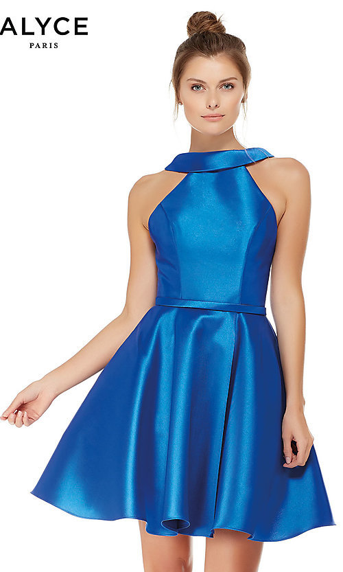 edf28d6a63 Fit-and-Flare Sapphire High-Neck Homecoming Dress