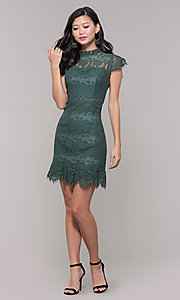 Image of short jade green lace holiday party dress. Style: AS-J5533D1J00 Detail Image 3