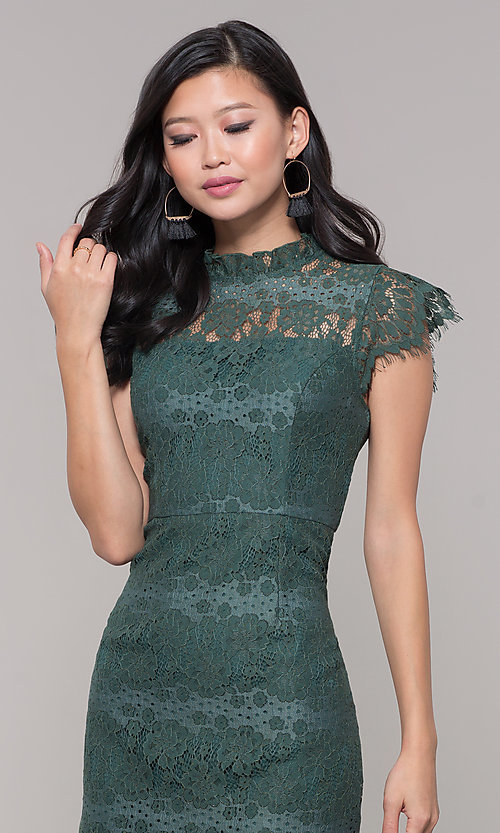 Image of short jade green lace holiday party dress. Style: AS-J5533D1J00 Detail Image 1