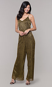 Image of black and gold long sparkly holiday jumpsuit. Style: AS-J4067687 Detail Image 3