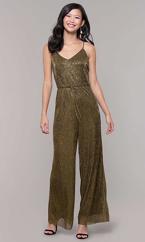 Image of black and gold long sparkly holiday jumpsuit. Style: AS-J4067687 Front Image