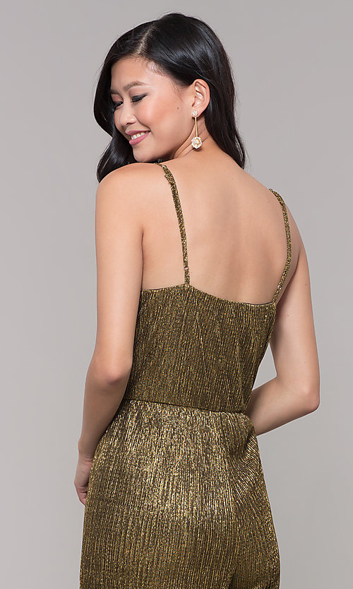 Image of black and gold long sparkly holiday jumpsuit. Style: AS-J4067687 Detail Image 2