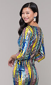 Image of multicolored short sequin sheath holiday dress. Style: AS-J5535D9C00 Detail Image 2