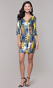 Image of multicolored short sequin sheath holiday dress. Style: AS-J5535D9C00 Detail Image 3