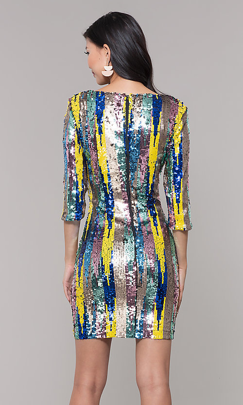 Image of multicolored short sequin sheath holiday dress. Style: AS-J5535D9C00 Back Image