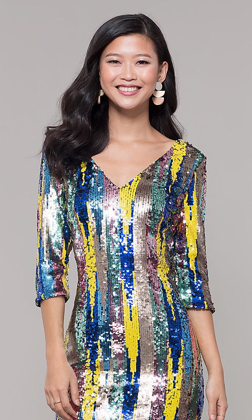 Image of multicolored short sequin sheath holiday dress. Style: AS-J5535D9C00 Detail Image 1