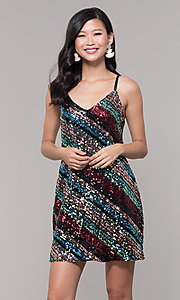 Image of multicolored sequin short holiday dress. Style: AS-A9567D9B81 Front Image