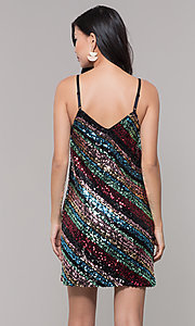 Image of multicolored sequin short holiday dress. Style: AS-A9567D9B81 Back Image