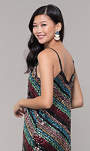 Image of multicolored sequin short holiday dress. Style: AS-A9567D9B81 Detail Image 2