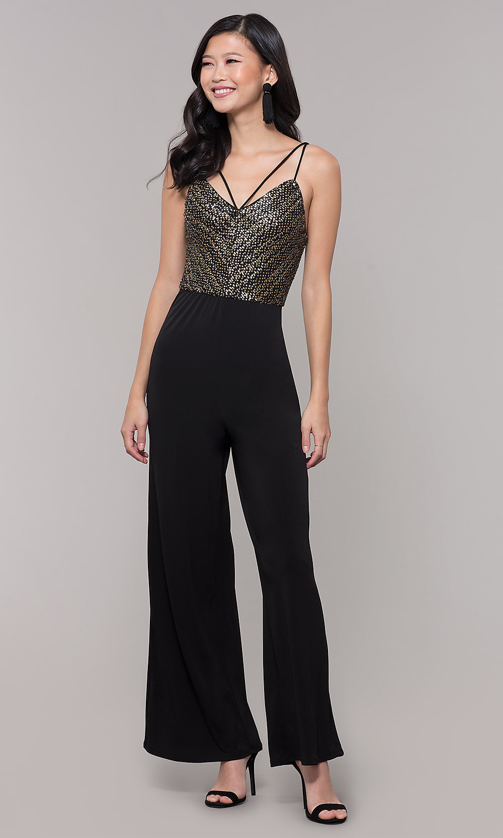 Black And Gold Semi Formal Holiday Jumpsuit Promgirl