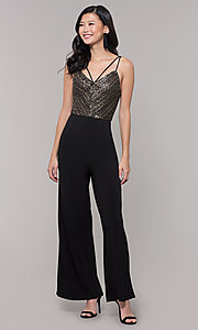 Image of semi-formal black and gold holiday jumpsuit. Style: AS-A9653-9C93 Front Image