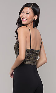 Image of semi-formal black and gold holiday jumpsuit. Style: AS-A9653-9C93 Detail Image 2
