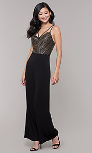 Image of semi-formal black and gold holiday jumpsuit. Style: AS-A9653-9C93 Detail Image 3