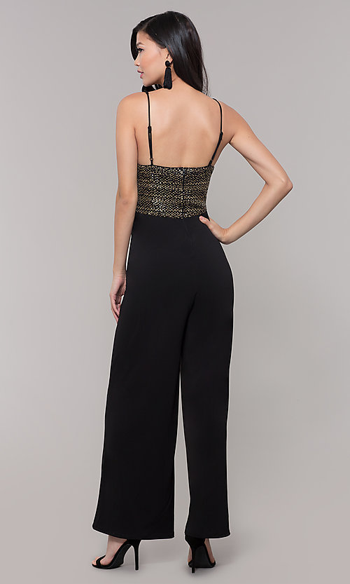 Image of semi-formal black and gold holiday jumpsuit. Style: AS-A9653-9C93 Back Image
