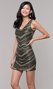 Image of short sequin holiday dress with v-neckline. Style: AS-A9808-864 Front Image