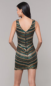 Image of short sequin holiday dress with v-neckline. Style: AS-A9808-864 Back Image