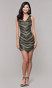 Image of short sequin holiday dress with v-neckline. Style: AS-A9808-864 Detail Image 3
