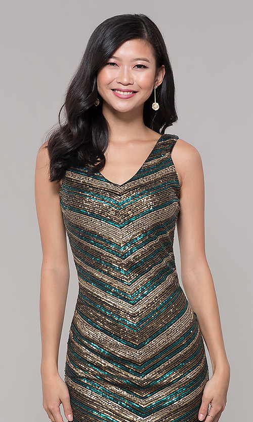 Image of short sequin holiday dress with v-neckline. Style: AS-A9808-864 Detail Image 1