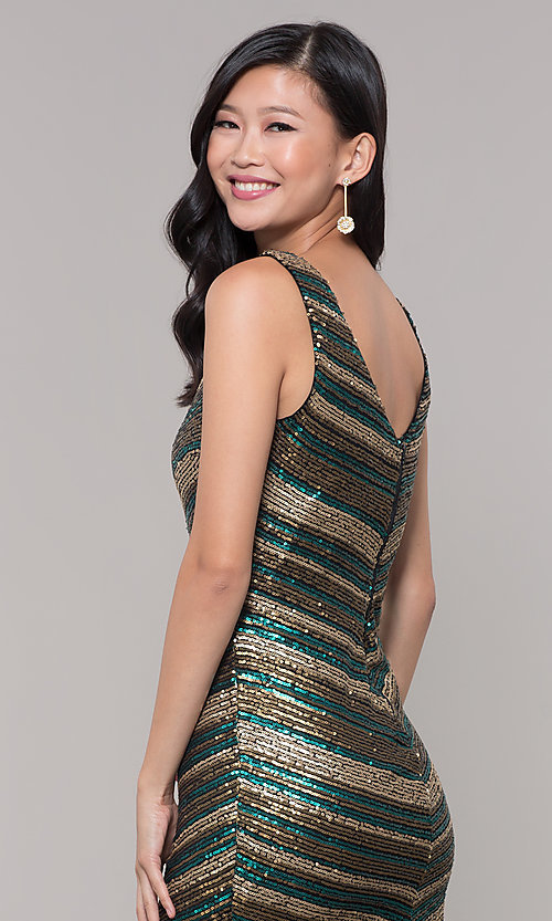 Image of short sequin holiday dress with v-neckline. Style: AS-A9808-864 Detail Image 2