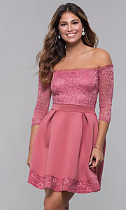 Image of short off-shoulder lace-bodice sleeved party dress. Style: CL-46374 Detail Image 1