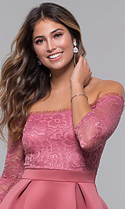 Image of short off-shoulder lace-bodice sleeved party dress. Style: CL-46374 Detail Image 2