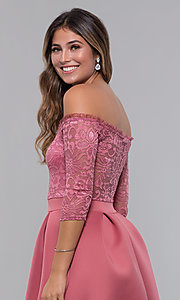 Image of short off-shoulder lace-bodice sleeved party dress. Style: CL-46374 Detail Image 3