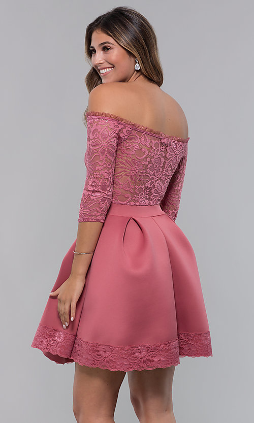 Image of short off-shoulder lace-bodice sleeved party dress. Style: CL-46374 Back Image
