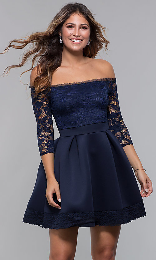 Image of short off-shoulder lace-bodice sleeved party dress. Style: CL-46374 Front Image