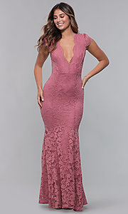 Image of long open-back v-neck lace formal dress. Style: CL-46421 Detail Image 3