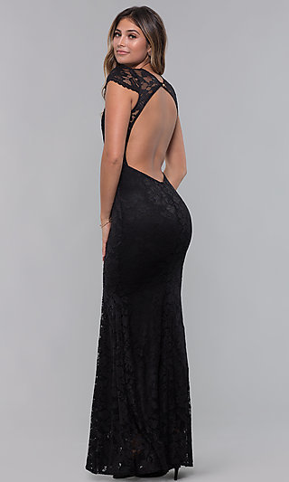 Long Open-Back V-Neck Lace Formal Dress