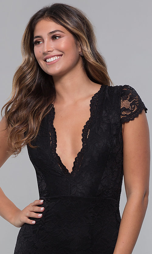 Image of long open-back v-neck lace formal dress. Style: CL-46421 Detail Image 1