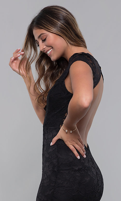 Image of long open-back v-neck lace formal dress. Style: CL-46421 Detail Image 2