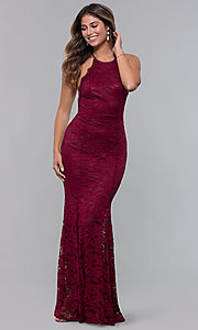 Image of long open-back lace formal dress. Style: CL-46554 Detail Image 1
